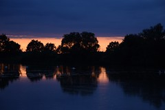summer moods (JoannaRB2009) Tags: summer mood pond water reflections tree trees silhouettes evening sunset light darkness clouds miliczponds stawymilickie lowersilesia dolnyśląsk dolinabaryczy landscape view nature polska poland blue