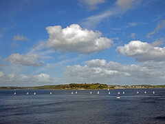 Fifteens in Carrick Roads (Cornishcarolin. Thank you for over 2 Million Views) Tags: cornwall falmouth theriverfal stmawes water boats yachts sky clouds flyingfifteens seascapes