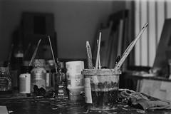 Atelier André Severyns (Tom Van de Peer) Tags: leica iiig elmar 5cm f35 ilford fp4 sony nex 5n zeiss zm planar 50 mm f2 t andré severyns atelier painter bw black white