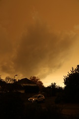 2pm today (roger_forster) Tags: weather clouds light 2pm headlights car weird hurricane ophelia saharan sand dramatic dark gosport hampshire alverstoke