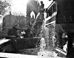 town hall fountain (LozHudson) Tags: manchester fuji fujifilmx100s x100s people street streetphotography water blackwhite monochrome