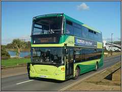 1145, Culver Parade (Jason 87030) Tags: culverparad isleofwight gosouthcoast southernvectis doubledecker sandown newport 8 holiday 2017 october iow ilsand uk england sunny boatinglake scania omnicity 1145 hw09bbz swan view scene nice green livery vectis