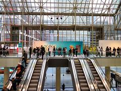Art Toronto, Toronto Convention Centre, Toronto, Ontario, 2017 (duaneschermerhorn) Tags: stairs escalators people men women skylight windows art galleries gallery artists conventioncenter conventioncentre city urban