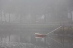 Fog by dinghy (Read2me) Tags: fog harbor boat morning cye red dock thechallengefactorywinner pregamewinner storybookotr friendlychallengeswinner gamewinner