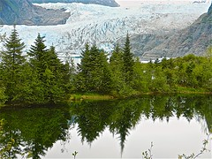 Mendenhall Glacier (Herculeus.) Tags: ak bouldersstonerocks glaciers ice insidepassage mendenhallglacier mountains nature ponds reflection snow tongrassnationalforest trees water outside outdoors outdoor landscape landscapes