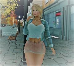 Strolling (renhailey) Tags: maitreya catwa blueberry glamaffair ikon tkw blackswan dahila yummy ryca street blonde sl skirt jacket fashion