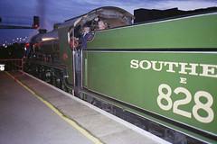 828 at Eastleigh, 10 Oct 1993 (Ian D Nolan) Tags: night dark railway railtour station eastleighstation 35mm epsonperfectionv750scanner 828 s15 460z lswr sr minoltaafz