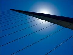 Covered Sun (Armin Fuchs) Tags: arminfuchs blue sky stripes sun bridge diagonal puentedelamujer frauenbrücke buenosaires argentina argentinien puertomadero lumixfz50 fineart