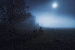 We're nothing more than shadows! (Night photographs from Finland) Tags: finland night moon fog mystical blue field mood photography man fealings dark