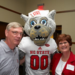 Poole College alumna Connie Carrigan ('83), right, with Mr. Wuf
