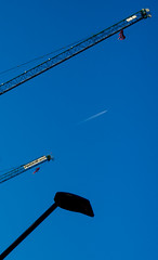 Sky of blue. (CWhatPhotos) Tags: cwhatphotos sky blue crane plane durham olympus omd em10 digital camera photographs photograph pics pictures pic picture image images foto fotos photography artistic that have which with contain cranes looking up above world