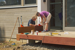 Mom and Dad working on Prospect St House construction / wood porch; Wakefield, MA (2017) (Stepthos) Tags: prospectsthouseconstruction prospectstreet wakefieldma wakefieldmassachusetts canon7d