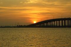 SUNRISE OVER THE BRIDGE (R. D. SMITH) Tags: sunrise river bridge morning florida sky canoneos7d indianriver melbourneflorida eaugalliecauseway
