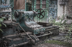 the work is over (jkatanowski) Tags: forgotten decay destroyed urbex urban exploration lost abandoned machinery workshop rust dust hdr canon tokina 50135mm