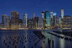 Blue (Bob90901) Tags: blue city bluehour newyorkcity nauticaltwilight manhattan longexposure oneworldtradecenter brooklynbridgepark autumn rpg90901 eastriver architecture skyline waterfront cityscape night morning canon 6d canonef24105mmf4lisusm skyscraper tower water sky 2015 november 0600 nyc