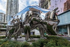 Slow (luke.me.up) Tags: sculpture art panda pandas vancouver parq stainless steel