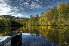 Reflections in Autumn (Ruinenvogel) Tags: autumn laub weinlaub hdr herbst herbstzauber see wald baum