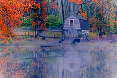 Boathouse on the Concord River at the Old Manse (briburt) Tags: briburt massachusetts nikon d90 composition emerson river concordriver fall autumn colors boathouse oldmanse hawthorne thoreau americanrevolution historical history peaceful zen mist misty fog blur water concord nature dramatic vibrant reflections reflect mirror moody dreamy dream mystical dreamlike tree trees leaves leaf wooden dock pier woods shore