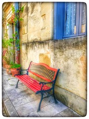 Little red bench.... (Sherrianne100) Tags: bastide redbench bench cadillacfrance aquitaine france