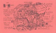 Red Hawk: The Red Hawk - Cecilia, Kentucky (73sand88s by Cardboard America) Tags: vintage qsl qslcard cbradio cb redhawk artistcard kentucky