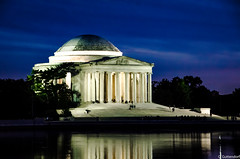 Jefferson Memorial 1 (charlie_guttendorf) Tags: guttendorf jeffersonmemorial memorial nps nationalparkservice nikon nikon18200mm nikond7000 presidentjefferson thomasjefferson washington washingtondc lights monumnet night nightphotography reflection tidalbasin tidalpool waterreflection