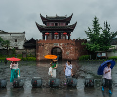 rain in Fenghuang (marinachi) Tags: china fenghuang rain umbrella
