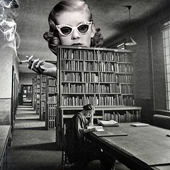 The Librarian (Flamenco Sun) Tags: books read smoke quiet ssh snitch peer look glasses spy weird library librarian