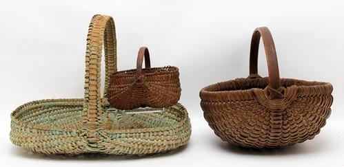 Green Painted Appalachian Basket ($291.20), Miniature Splint Oak Basket ($179.00), Woven Farm Basket ($168.00)