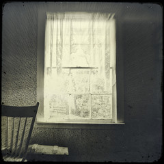 ushered in (jssteak) Tags: canon t1i farmhouse window lace curtain chair ttv hdr blackandwhite texturedsquare