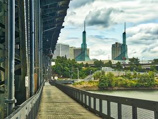 Steel bridge leading to the Portland, Oregon convention center.