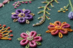 Hand Embroidery (steve_whitmarsh) Tags: colour purple pink orange yellow green craft embroidery stitch