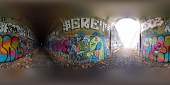 Abandoned Train Tunnel Art (brooksbos) Tags: brooksbos brooks color colour colours colorful geotagged masschusetts newengland vivid clinton graffiti art tunnel train abandoned 360 pano panorama equirectangular atlasobscura otis weird strange spirits wachusett reservoir lg g6 smartphone graff artist artists public
