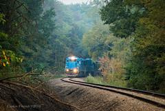 Blues on the Climb (Wheelnrail) Tags: oc ohio central genessee wyoming gw railroad rail road train trains ge b36s7 super 7 loco conrail zanesville east morning branchline