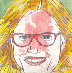 # 183 2017-10-24 (h e r m a n) Tags: herman illustratie tekening 10x10cm tegeltje drawing illustration karton carton cardboard kunst art portrait portret bril glasses nederland holland netherlands