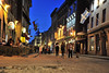blue hour in Old Montreal (Sharkshock) Tags: montreal canada vieux nuit tourism travel flags architecture giftshops cafes tourists fun blue hour road street cobble stone