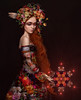 Dreamer ('_ellen_') Tags: flowers multi coloured colours color dress portrait red hair woman fine art ellen mcdermott