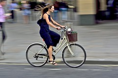 All in blue (jeremyhughes) Tags: london street cyclist cycling woman bike road city dawes commuter basket panning movement motion speed highholborn urban sandals culottes blue nikon d750 nikkor afzoomnikkor80200mmf28ded 80200mmf28d style stylish graceful