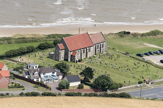 Mundesley All Saints in North Norfolk - aerial view