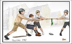TUG O' WAR 1942 (Derek Hyamson) Tags: computergenerated painterclassic pe8 youngboys fun games gangs mates pals sport