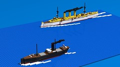 Emden on the hunt (GBDanny96) Tags: lego moc sms emden cargo ship battle diorama world war 1 ww1 boat military vehicle