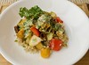 Pear and Roasted Fall Vegetables with Green Tahini Dressing