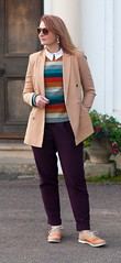 Preppy Style in the Autumn: Double breasted camel blazer \ striped Seasalt sweater \ white button down shirt \ aubergine peg trousers pants \ two tone brogues \ orange vintage sunglasses | Not Dressed As Lamb, Over 40 Style (Not Dressed As Lamb) Tags: autumn winter aw17 outfit ootd fashion style blogger fashionista preppy seasalt