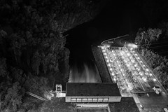 Fontana Dam 5 of 17 (Mr. Low Notes) Tags: 70d tva fontana dam fontanadam outdoors dusk dark night nightshot nightphotography power electricity electric nc mountains water blackandwhite bw monochrome