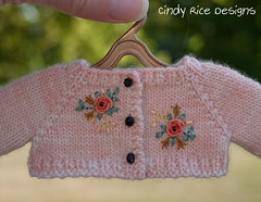 """""""Autumn Sunset"""", made for Dianna Effner's Little Darlings. (Cindy Rice Designs) Tags: embroidery effner dress doll littledarlings fall headband sweater cardigan"""