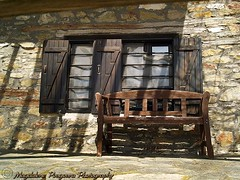 A place in the sun (Magdalene Pougoura) Tags: bench woodenbench village house stonewall wall macedonia greece chalkidiki macedoniagreece makedonia timeless macedonian macédoine mazedonien μακεδονια македонија