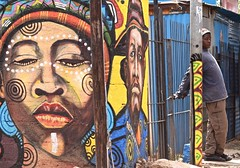 Faces of Soweto (The Spirit of the World ( On and Off)) Tags: soweto johannessburg southafrica africa mandela tutu township murals streetscene walls local boy colorful colors streetart famoustownship home nobel peace prize winners