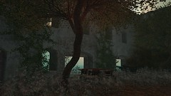 Pale (alexandriabrangwin) Tags: alexandriabrangwin secondlife 3d cgi computer graphics virtual world photography italian garden sim ruined building art style overgrown picnic table eerie dim light green trees twilight stone ivy vine abandoned