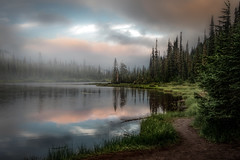 Lake View (Bernd Thaller) Tags: packwood washington usa us lake evening fog water trees outdoor sky clouds shore forest wood grass tree mist