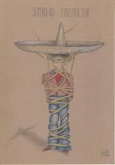 Sombrero constrictor. (Klaas van den Burg) Tags: humor absurd surreal funny sombrero mexico strangle snakelike color