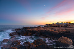 my time to shine (Brian M Hale) Tags: gloucester ma mass massachusetts newengland new england usa coast coastal atlantic ocean sea seaside oceanside water waterscape seascape rocks rocky outside outdoors nature sky sunset golden light long exposure breakthrough filters nd neutral density cpl polarizing polarizer wide angle brian hale brianhalephoto moon